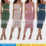 2017 fashion women lace up suede two piece skirts and crop top set bodycon dresses pictures of long skirts and tops