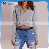 Wholesale cheap comfortable bulk plain slim fitness drawsting V neck crop top hoodies for women