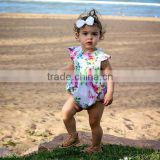 Latest baby girl breathable summer clothes floral printing romper flutter sleeve romper for wholesale