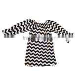 wholesale children clothing boutique kids extra long baby girl black white chevron newborn baby t-shirts