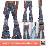 Ladies Boho Hippie Style Paisley Floral Print Wide Leg Leggings Pants Palazzo Trousers