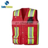 OEM hot sell service breathable ANSI 107 high visibility reflective safety vest with pockets