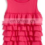 CHEFON Ruffles cascade down easy cotton ruffle tank top,cotton top,girls back key hole top