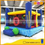 AOQI new design colorful inflatable moonwalks with obstacle wall for kids