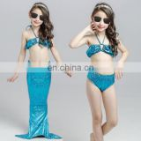 Girl Mermaid Tail 3 Pieces 110cm Swimmable Bikini Set Cute Swimsuit