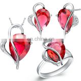 18K gold plated heart shape ruby jewerly sets with earings ring and necklace