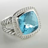 Inspired DY Sterling Silver 14mm Blue Topaz Albion Ring for Women