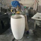 Carrara White Marble Pedestal Sinks,White Marble Wash Basins, Nature Stone Bathroom Sinks