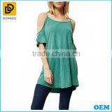 Clothing manufacturers lady green cold shoulder ladies tunic casual fashion 100% cotton burnout jersey blouse tank top
