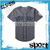 latest design plain kid size button up baseball buttons t-shirt with names and numbers oem