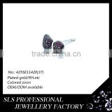 "925 silver jewelry earring ""bow tie ""shape stud earring with red zircon earring fashion SLS brand jewelry"