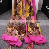 Charm Rose Color Printing Tassel Style Sun-proof Beach Pashmina Scarf                                                                         Quality Choice