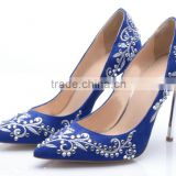 women shoes comfortable high heel lady shoes wholesale 3 colors shoe with embroidery gemstone