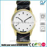 Melding watch design techniques PVD gold stainless steel case japanese quartz movement miyota 3atm water resistance nato band