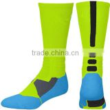 Hot sale wholesale custom logo fluorescent green basketball socks, elite basketball socks, wholesale basketball socks