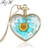 Yiwu Wholesale High Quality Fashion Jewelry Floating Locket Pendant Necklace with Real Flower