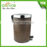 stainless steel foot pedal waste bin/metal waste container/bathroom waste basket