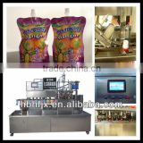 Automatic soy bean milk /yogurt with Doypack package /stand up pouch filling capping packing machine