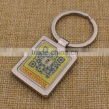 Promotion Custom Rectangle Metal Printing QR Code Keychain