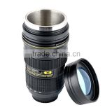 Camera Lens cup 24-70mm 1.2.8G ED Ounce 1:1 Coffee Tea Mug, Stainless Steel Interior, Plastic Exterior