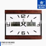 2014 new product wooden wall clock with wood frame two led display