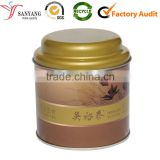 Custom wholesale manufacturer made smooth clean finish round cylinder tin box for shipping tea bag