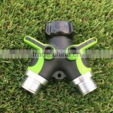 "3/4"" colorful lawn and garden tools two way hose connector Y valve with On/Off coupling valves"