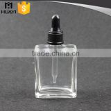 clear 30ml square glass dropper bottle with plastic dropper cap                                                                                                         Supplier's Choice