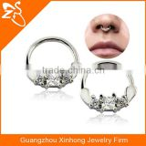 China wholesale septum clicker cartilage earrings piercing body piercing jewelry Indian nose ring with zircon