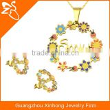New Smile Flower And Colorful Imitation Stainless Steel Necklace And Earring Jewelry Sets