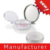 Best sale beautiful round pearl white makeup blush palette contianer with mirror