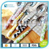 Whloe sale stainless steel spoon and fork set with ceramic handle