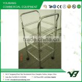 2015 hot sell NSF 18x18 inch 3 layer chrome double handle wire basket shelving trolley with wheels (YB-WS037)