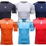 heather spandex polyester slim dry fit plain compress sports t-shirt mens short raglan sleeve gym t shirt with wholesale price