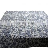 Blue Indigo Paisley Beautiful Printed Double Bed Size Colorful Kantha Stitched Bed Cover Double Bed Size Cotton Fabric Bedspread
