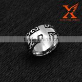 In Stock 2016 Removable Black Silver Base Mens/Womens Stainless Steel Cross Ring for Christian Baptism