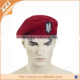 Customized wool army beret caps with cotton lining