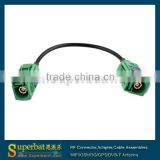 Fakra Green connector female to female Fakra connector cable assemblies 15cm RG174