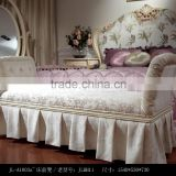 royal European French furniture antique white bedroom sets Bed Bedside table Wardrobe Dressing table Bench Commode Chair