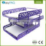 Wholesale beautiful purple embossing folding metal iron file holder letter tray document magazine rack