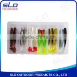 fishing soft shad lure assortment in plastic box