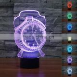 New Touch Clock 3D Night Light 7 Color Change LED Table Lamp Xmas Toy Gift