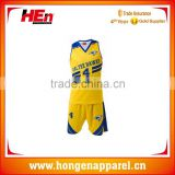Hongen apparel Custom sublimation printed make your own basketball jersey blue and yellow