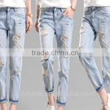 Latest Wholesale Ladies jeans top new design fashion sexy light denim Jeans Pants manufacturing China
