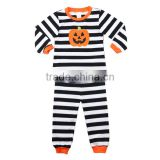 Wholesale Sleepwear stripe kids Cotton pumpkin applique Toddler Children Halloween Pajamas