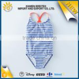 New design custom wholesale cute stripe children swimsuit girls