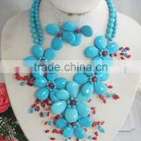 Free ship !! simple and beauty royal blue turquiose flower jewelry set with necklace and bracelet