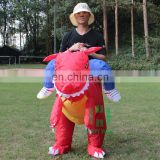 HI CE best selling red dinosaur costume inflatable ride on toys halloween costumes for adults