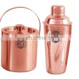 Stainless steel shaker set with gold copper plated.Boston shaker