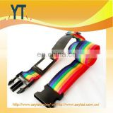 Rainbow Woven Luggage Holder Strap with black plastic buckle